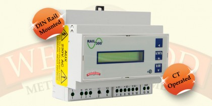Power Rail 300 - 3 Phase DIN Rail CT Operated Meter