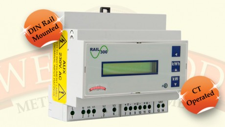 3 Phase DIN Rail CT Operated Meter